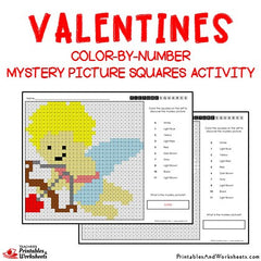 Valentines Color-By-Number Mystery Pictures Activities