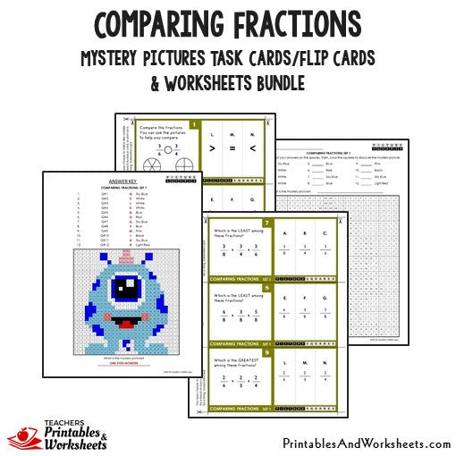 Comparing Fractions Bundle - Task Cards Sample