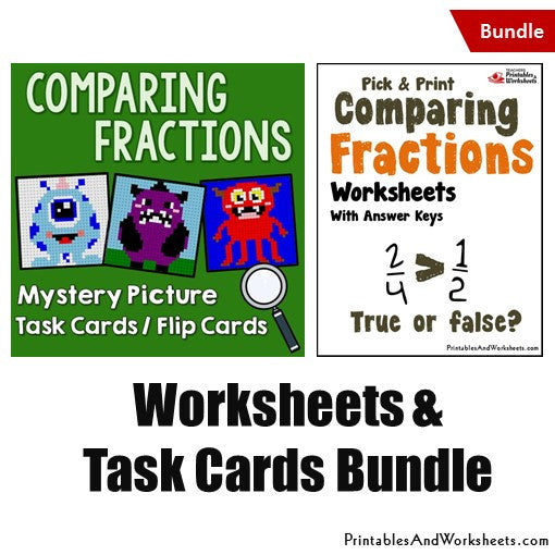 Comparing Fractions Worksheets and Mystery Pictures Task Cards Bundle