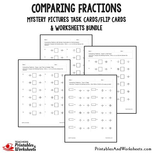Comparing Fractions Bundle - Worksheets Sample