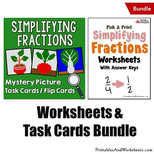 Simplifying Fractions Worksheets and Mystery Pictures Task Cards Bundle