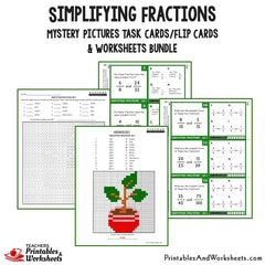Simplifying Fractions Task Cards and Worksheets Bundle