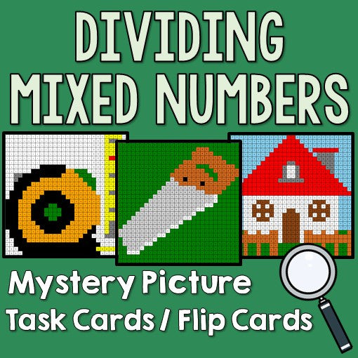 Dividing Mixed Numbers Mystery Pictures Task Cards