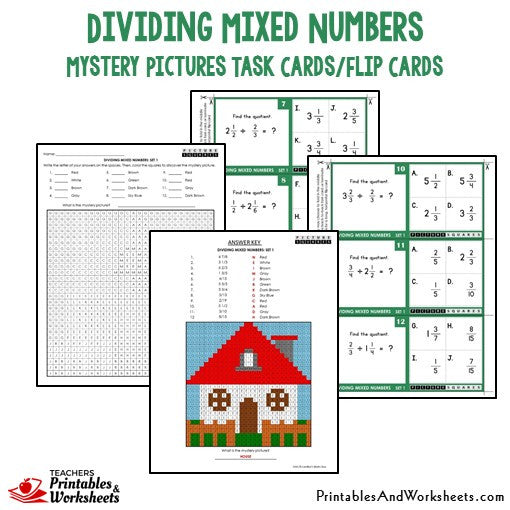 Dividing Mixed Numbers Mystery Pictures Task Cards Sample