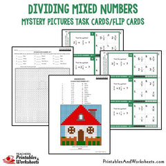 Dividing Mixed Numbers Mystery Picture Task Cards With Coloring Worksheets