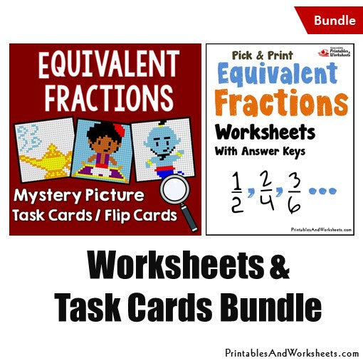 Equivalent Fractions Worksheets and Mystery Pictures Task Cards Bundle