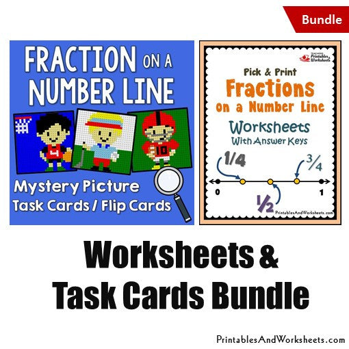 Fraction on a Number Line Worksheets and Mystery Picture Task Cards Bundle
