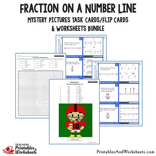 Fraction on a Number Line Bundle - Mystery Picture Task Cards