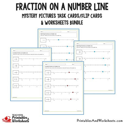 graphic regarding Fraction Cards Printable known as Fractions upon a Variety Line Undertaking Playing cards and Worksheets Package