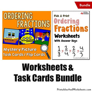 Ordering Fractions Worksheets and Mystery Pictures Task Cards/Flip Cards Bundle