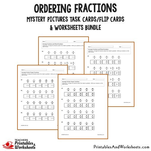 math worksheet : ordering fractions task cards and worksheets bundle  printables  : Ordering Fractions Worksheet With Answers