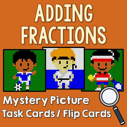 Adding Fractions Mystery Pictures Task Cards