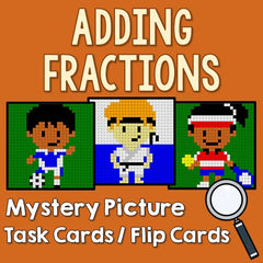 Adding Fractions Mystery Picture Task Cards With Coloring Worksheets