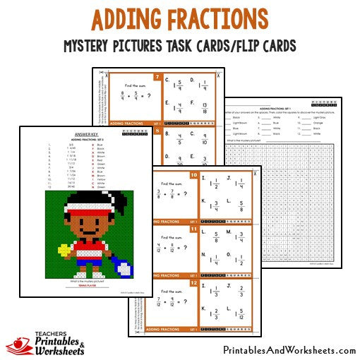 Adding Fractions Mystery Pictures Task Cards Sample