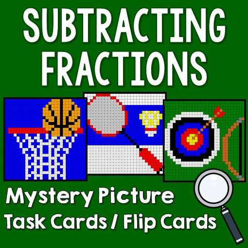 Subtracting Fractions Mystery Pictures Task Cards/Flip Cards