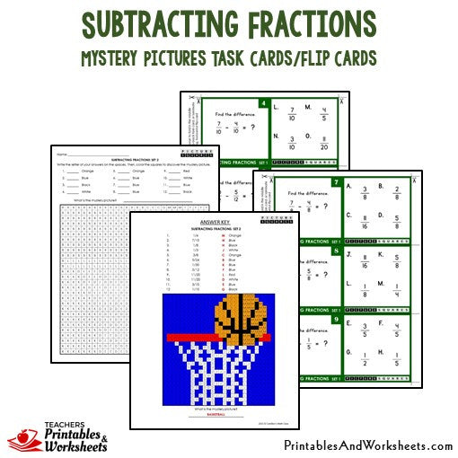 Subtracting Fractions Mystery Pictures Task Cards/Flip Cards Sample