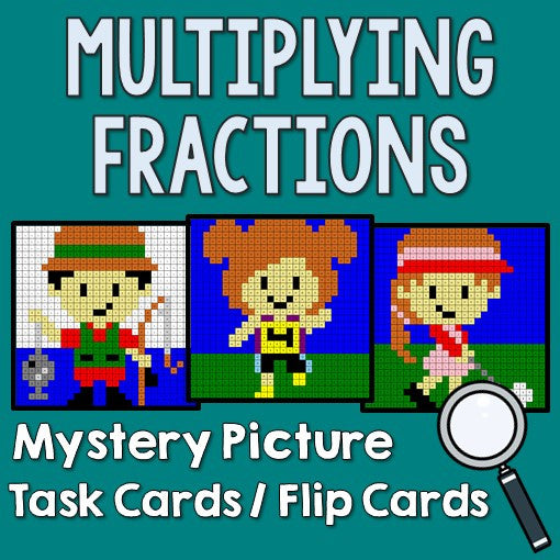 Multiplying Fractions Mystery Pictures Task Cards