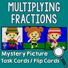Multiplying Fractions Mystery Picture Task Cards With Coloring Worksheets