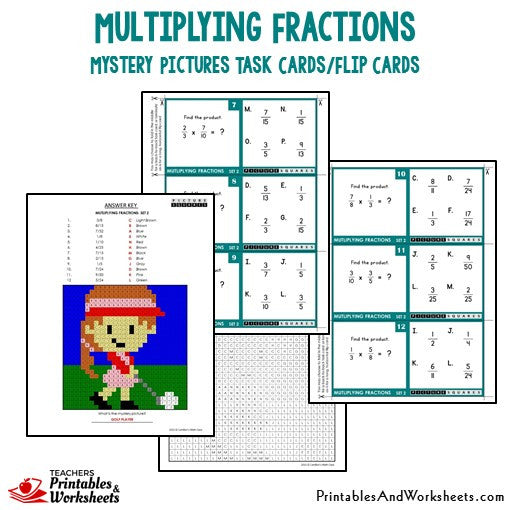 Multiplying Fractions Mystery Pictures Task Cards Sample