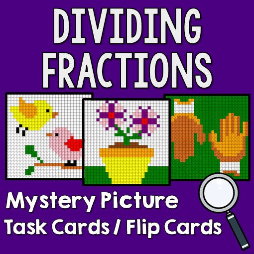 Dividing Fractions Mystery Pictures Task Cards/Flip Cards