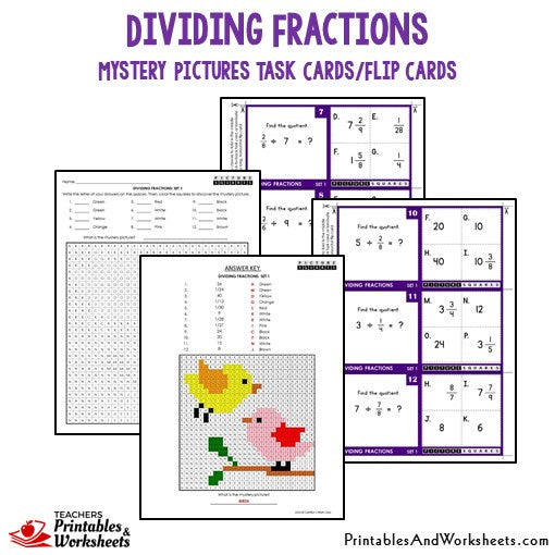 Dividing Fractions Mystery Pictures Task Cards/Flip Cards Sample