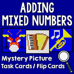 Adding Mixed Numbers Mystery Picture Task Cards With Coloring Worksheets