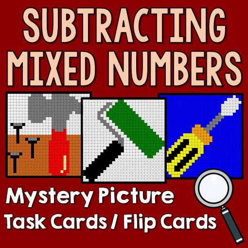Subtracting Mixed Numbers Mystery Pictures Task Cards/Flip Cards