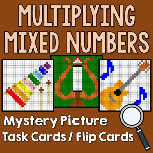 Multiplying Mixed Numbers Mystery Pictures Task Cards/Flip Cards