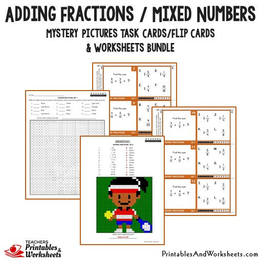 Adding Fractions/Mixed Numbers Bundle - Mystery Pictures Task Cards