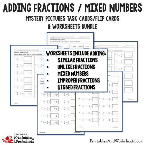 Adding Fractions/Mixed Numbers Bundle - Worksheets