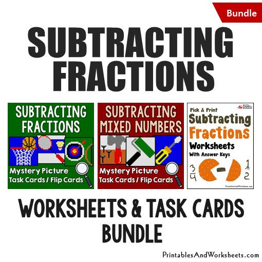 Subtracting Fractions and Mixed Numbers Worksheets and Mystery Pictures Task Cards Bundle