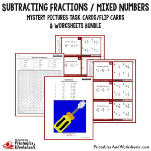 Subtracting Fractions / Mixed Numbers Bundle - Mystery Pictures Task Cards Bundle