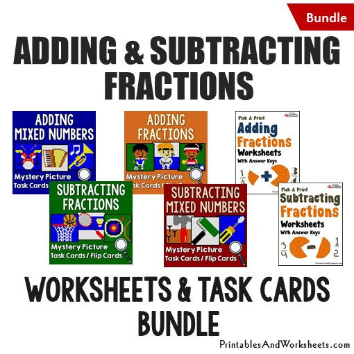 Adding and Subtracting Fractions/Mixed Numbers Bundle - Worksheets and Mystery Pictures Task Cards