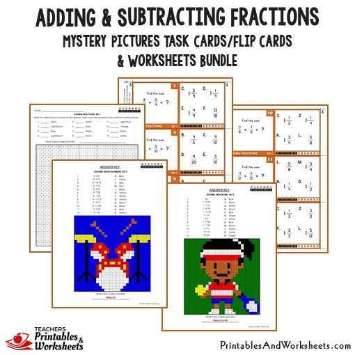 Adding and Subtracting Fractions/Mixed Numbers Bundle - Mystery Pictures Task Cards