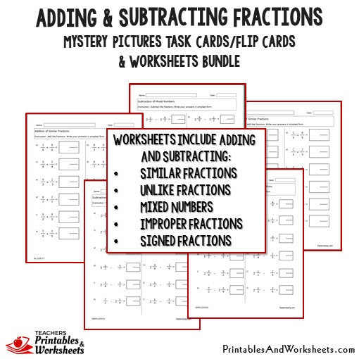 Adding and Subtracting Fractions Task Cards and Worksheets Bundle – Adding and Subtracting Mixed Fractions Worksheet