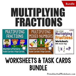 Multiplying Fractions/Mixed Numbers Worksheets and Mystery Pictures Task Cards Bundle