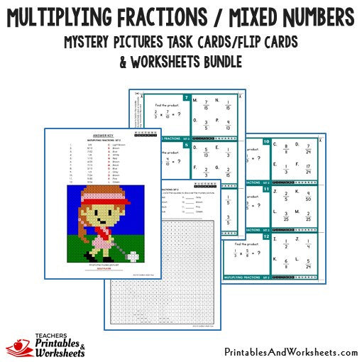 Multiplying Fractions/Mixed Numbers Bundle - Mystery Pictures Task Cards