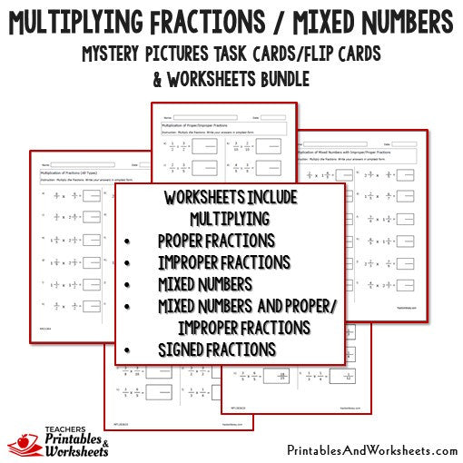 Multiplying Fractions/Mixed Numbers Bundle - Worksheets