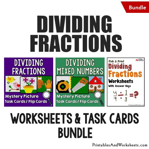 Dividing Fractions Bundle - Worksheets and Mystery Pictures Task Cards/Flip Cards