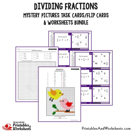 Dividing Fractions Bundle - Mystery Pictures Task Cards/Flip Cards
