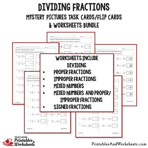 Dividing Fractions Task Cards and Worksheets Bundle Printables – Dividing Fractions Mixed Numbers Worksheets