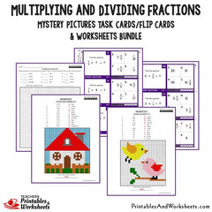 Multiplying and Dividing Fractions Task Cards and Worksheets Bundle