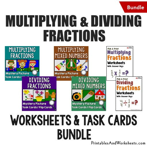 Multiplying and Dividing Fractions/Mixed Numbers Bundle - Worksheets and Mystery Pictures Task Cards