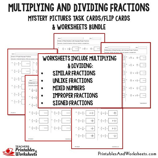 Multiplying and Dividing Fractions Task Cards and Worksheets – Worksheet Dividing Fractions