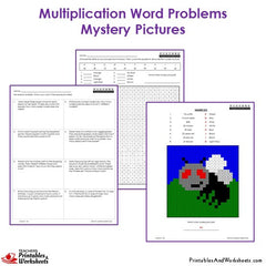 3rd Grade Multiplication Word Problems Mystery Pictures Coloring Worksheets