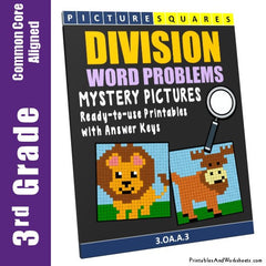 3rd Grade Division Word Problems Mystery Pictures Coloring Worksheets