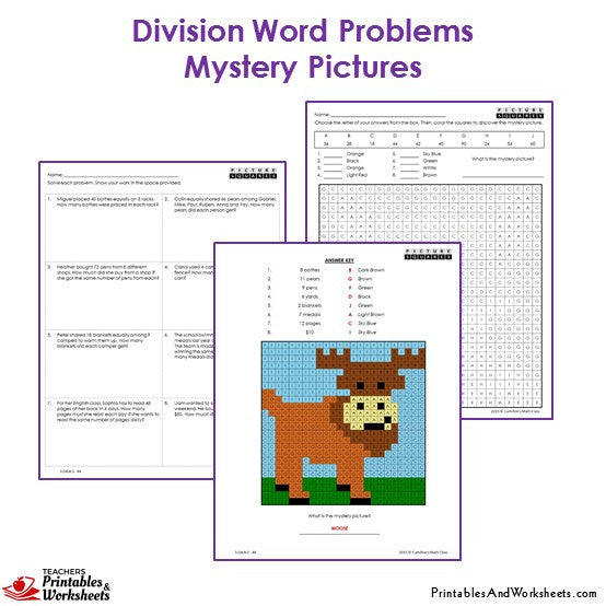 Grade 3 Division Word Problems Mystery Pictures Coloring Worksheets - Moose