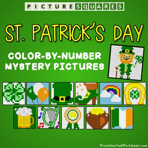 Saint Patrick's Day Coloring Worksheets Color-By-Number Mystery Pictures Cover