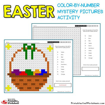easter color by number mystery pictures activities printables worksheets. Black Bedroom Furniture Sets. Home Design Ideas