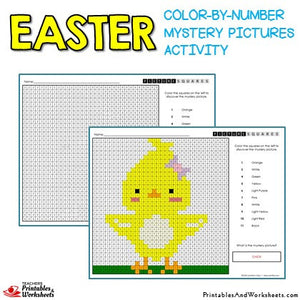 Easter Coloring Activities Color by Number Mystery Pictures Sample 2